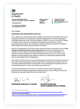 Department of Health CMO/CPO letter on antimicrobial resistance (AMR) and gonorrhoea