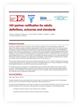 HIV partner notification for adults: definitions, outcomes and standards